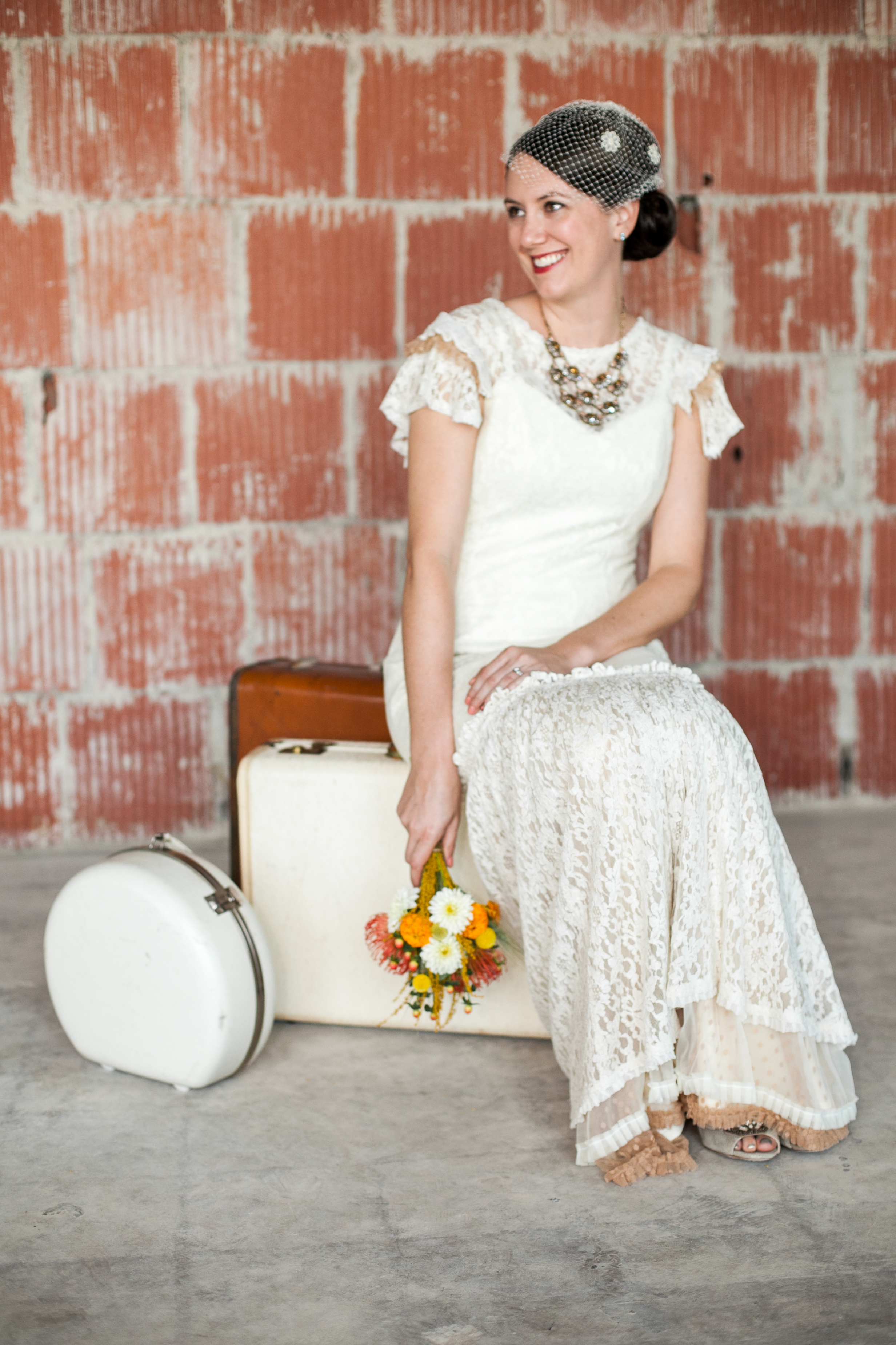 Bridal portrait session at the 1940 Airport Terminal Museum near Hobby Airport.